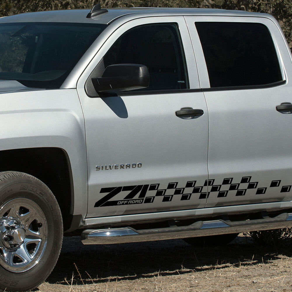 Details about chevrolet silverado z71 side stripes graphics decal door panel decal black vinyl