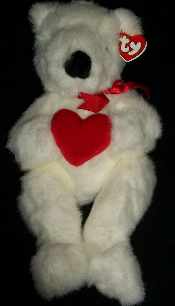 Details about AH Ty Beanie Baby Romeo Red Ribbon White Bear Valentines  Valentine Heart Love 9110df088c81