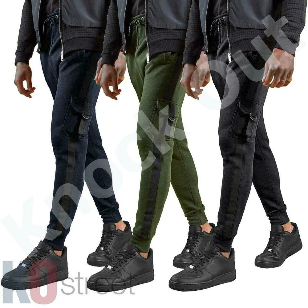369ee441ed5 Details about Mens Skinny Cargo Joggers Side Tape Track Pants Cuffed  Bottoms Tracksuit Size.