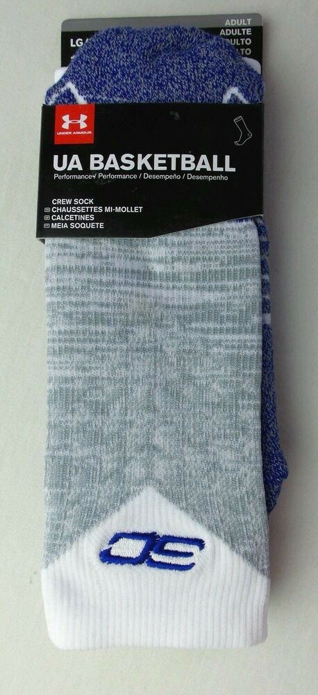 c7586ae251d8 Details about Under Armour UA Men s Basketball Crew Socks Large White Grey  Blue SC Logo New