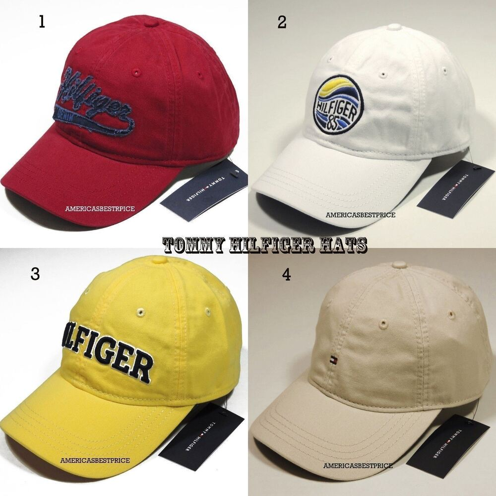 4c222f607d7 Details about TOMMY HILFIGER NEW MEN S BASEBALL CAP HAT RED WHITE YELLOW  BEIGE NICE CAPS