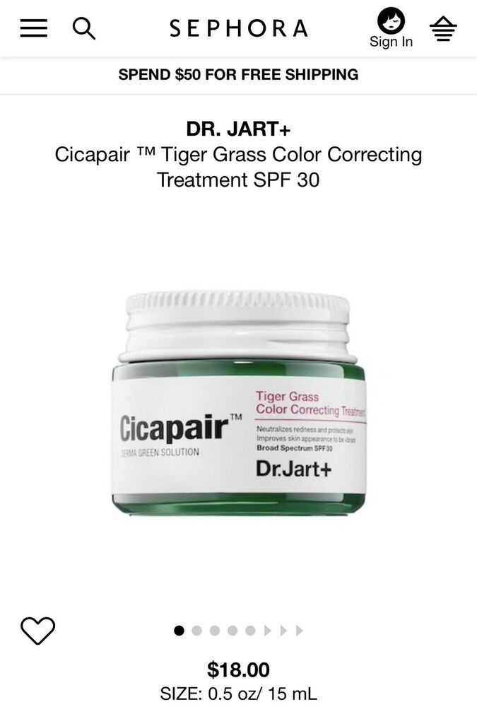 Cicapair Tiger Grass Color Correcting Treatment by Dr Jart+ #16