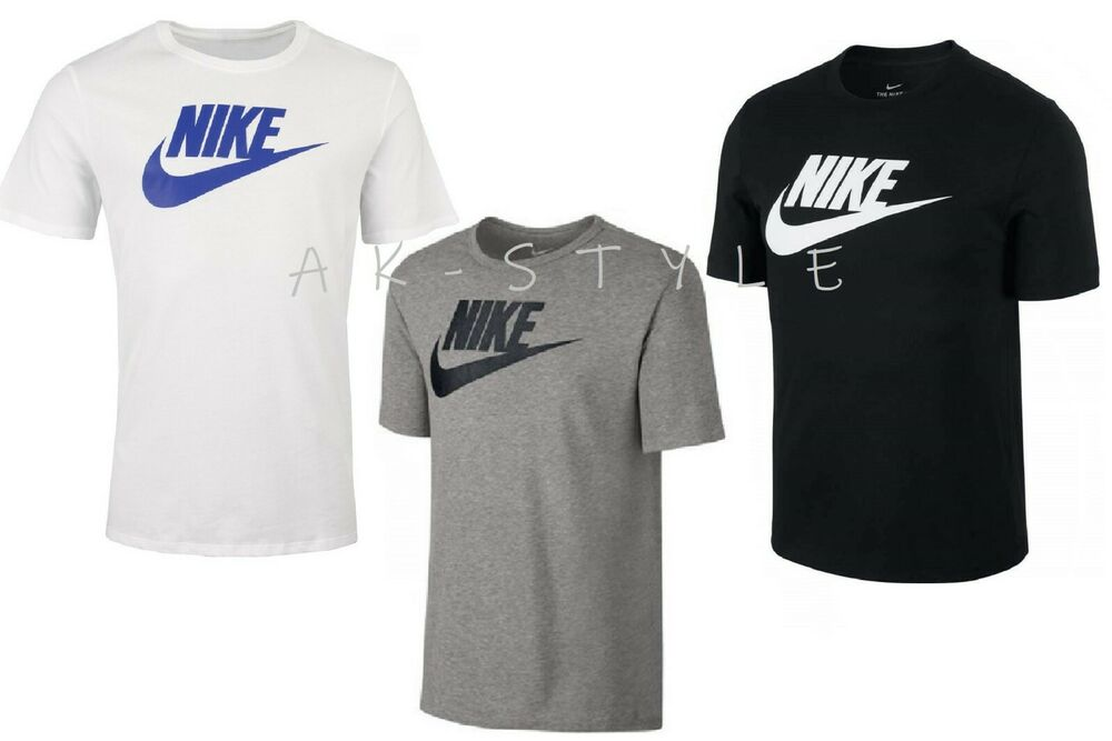 cdc28769 Details about New Mens Nike T-Shirt Retro Gym Sports Nike Logo Top Crew  Neck Tee S M L XL