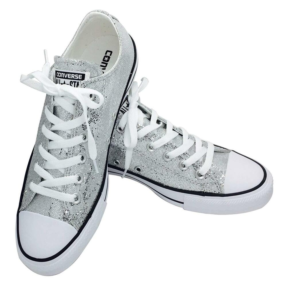 062fd0c1aa9447 Details about Converse Chuck Taylor All Star Low Top Men s Unisex Silver Glitter  Shoes 135851C