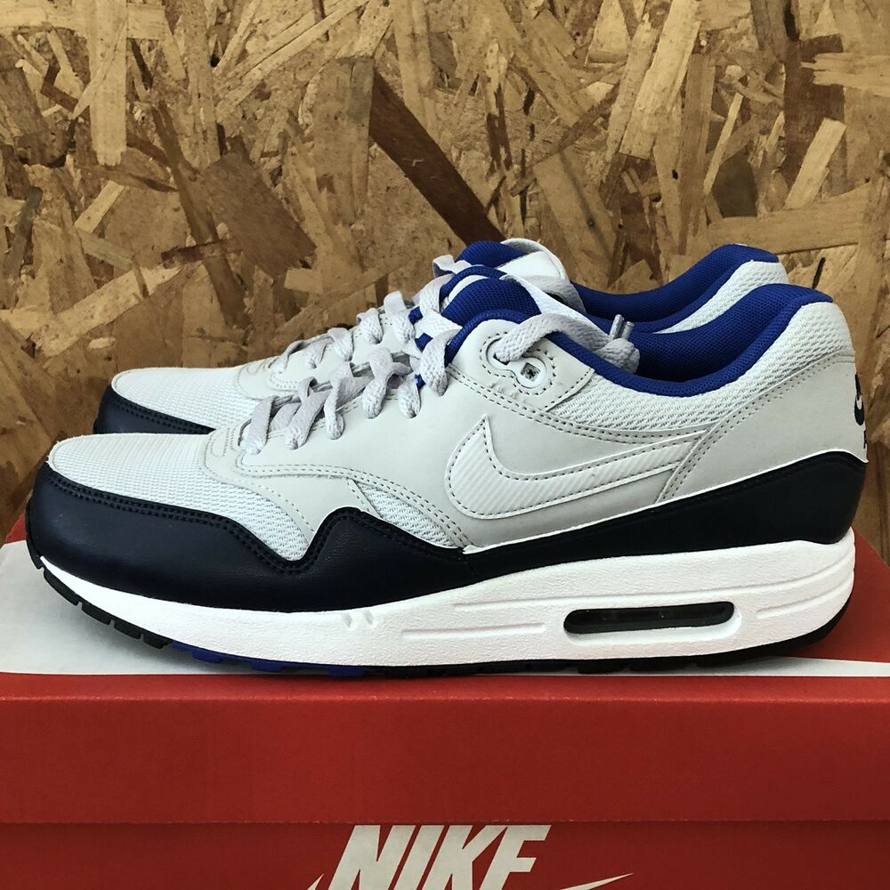 competitive price 2f2c8 fdd3e Details about Nike Air Max 1 Essential - Pure Platinum   Midnight Navy Size  8.5 New