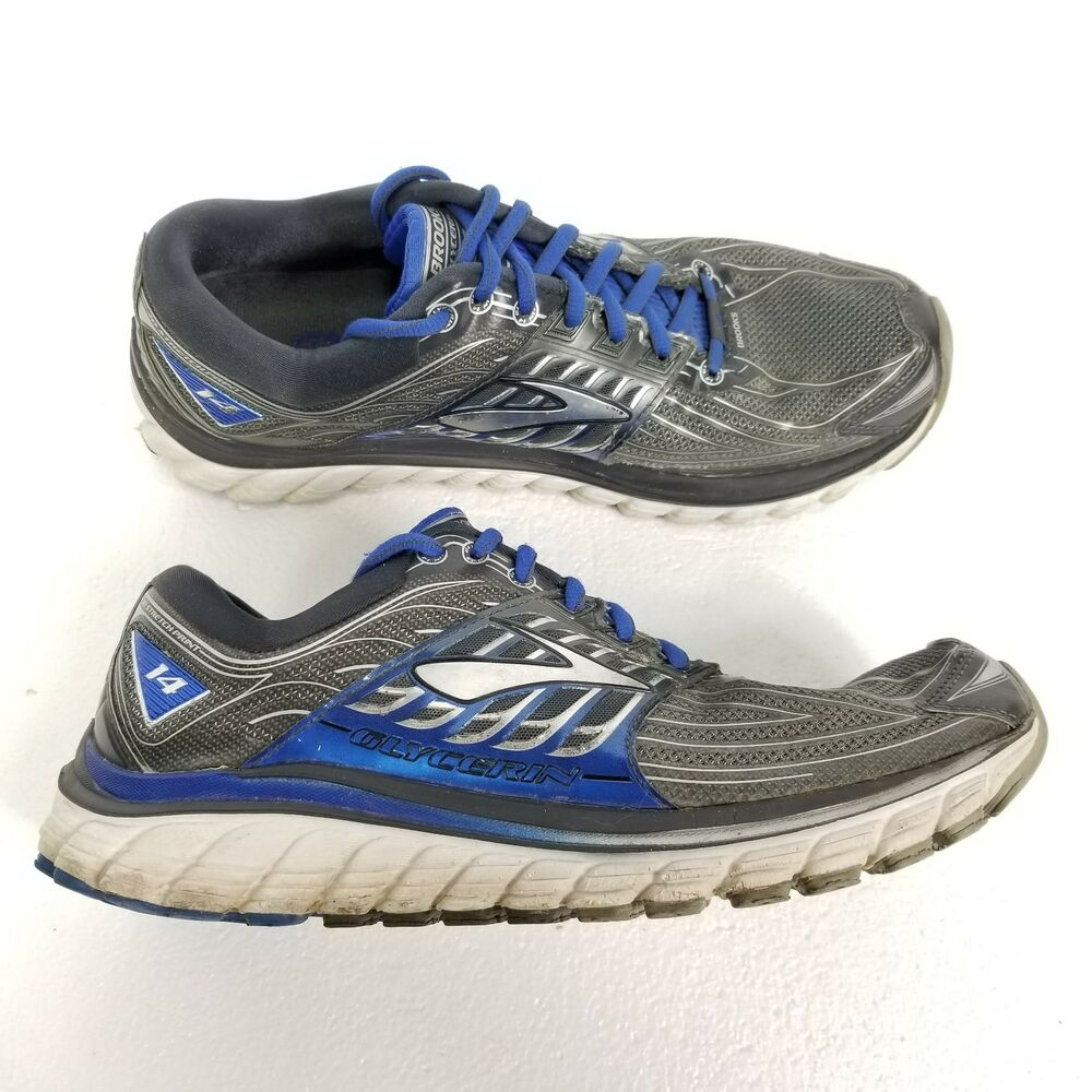 e2e9db57713 Details about Brooks Glycerin 14 Mens Running Shoes Size 9 Gray Blue Silver  White Athletic