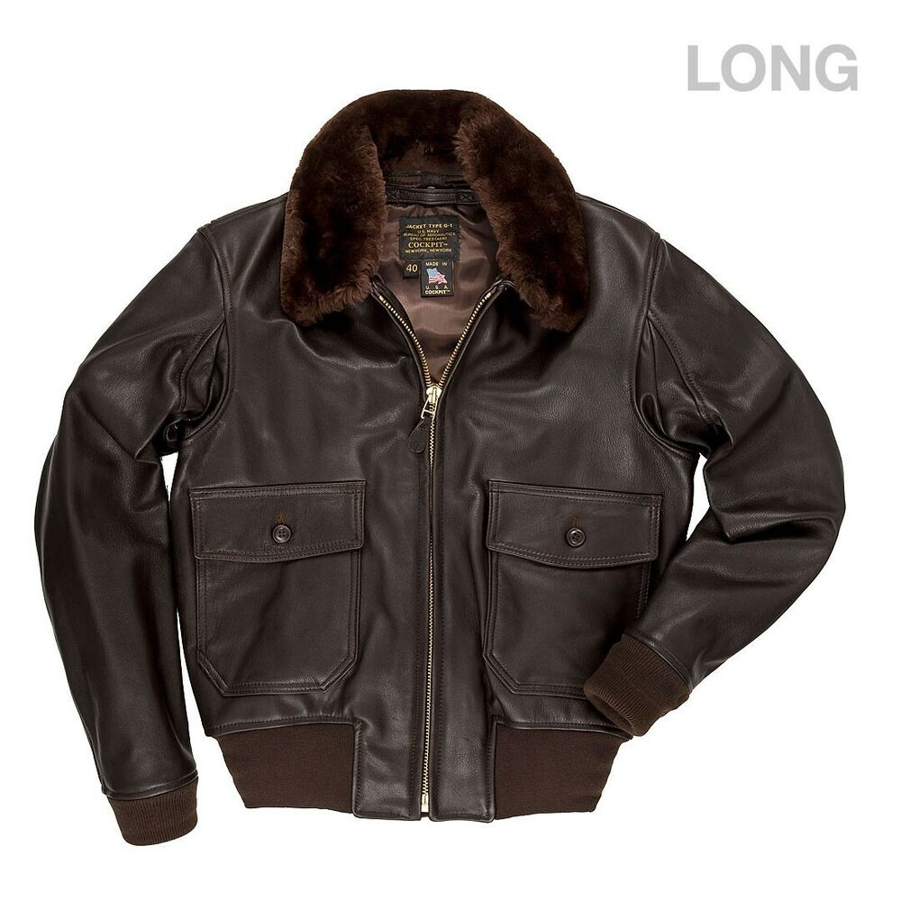 51ba51516eb COCKPIT USA G-1 LEATHER FLIGHT JACKET W REMOVABLE COLLAR BROWN LONG Z2108ML  USA
