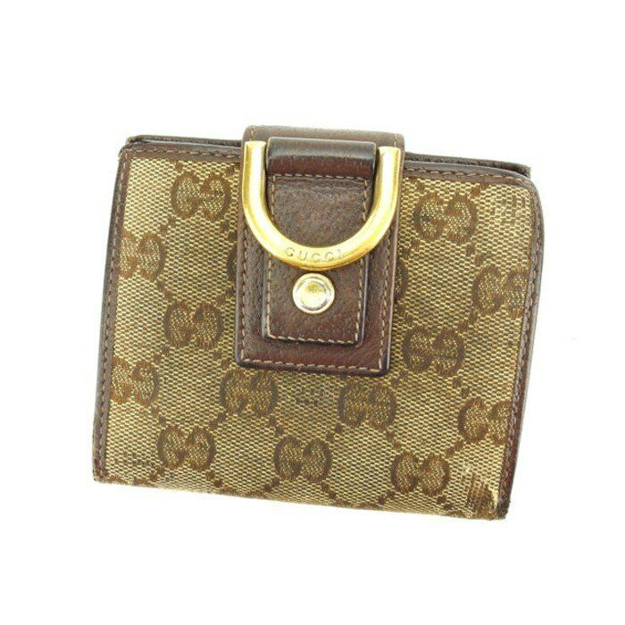 fdea6731a34 Details about Gucci Wallet Purse Bifold G logos Beige Brown Woman Authentic  Used K303