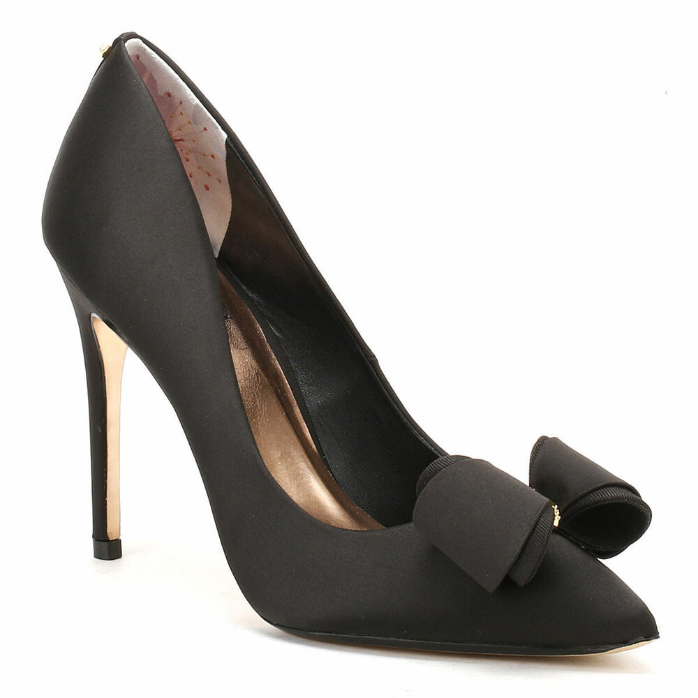 21534ddf8a64a Details about NEW TED BAKER AZELINE BLACK BOW SATIN LEATHER HEELS PUMP SIZE  40  US 10  359