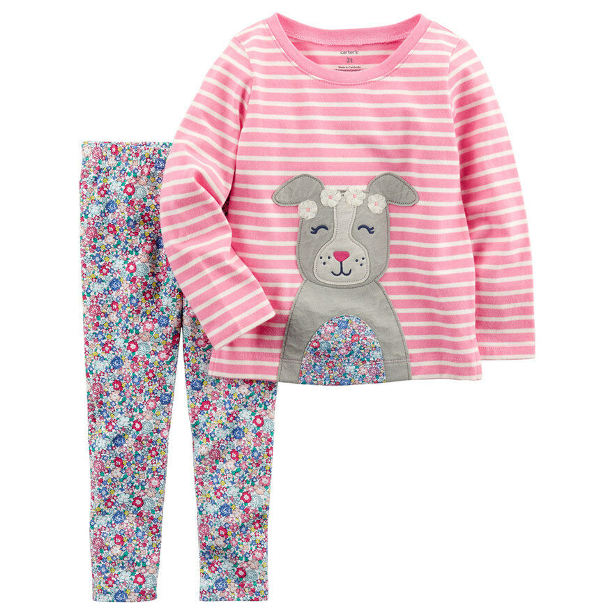 be47052a64d4a Details about New Toddler Girl Carter's Striped Dog Graphic Tee & Floral  Leggings Set 4T