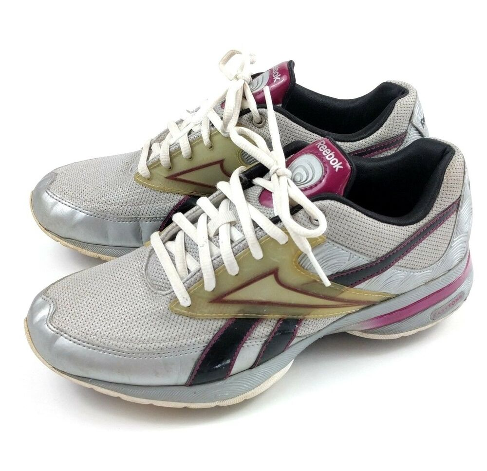 b8ae518fd106 Details about Reebok Easy Tone Womens Size 8.5 Purple Gray Black Athletic  Shoes 11-v56680