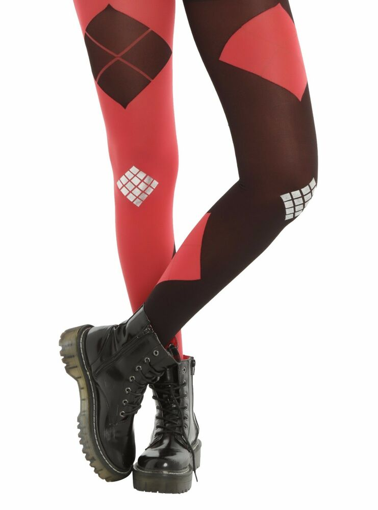 d40a0f32e66d6 Details about Hot Topic Suicide Squad Diamond Tights Small Med Red Black  Silver #37555