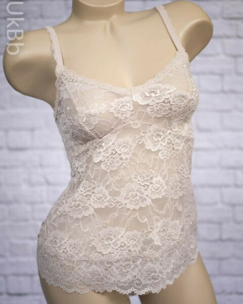 M&S Camisole & Knickers Set Sheer Lace Stretch Size 6 Cami Top Fawn Nude