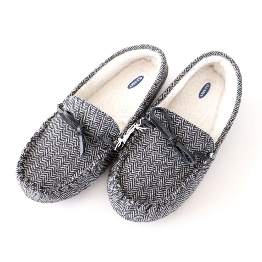 1379a0ca4724 Details about NEW MENS OLD NAVY MEDIUM 8-9 FABRIC SHERPA SLIPPERS GRAY  HERRINGBONE MOCCASIN
