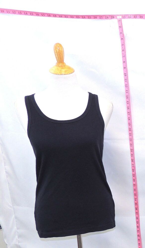 5f7813f978b3aa Details about Uniqlo Navy Blue Solid Cotton Blend Sleeveless Tank Top Sz S   6104 B-218