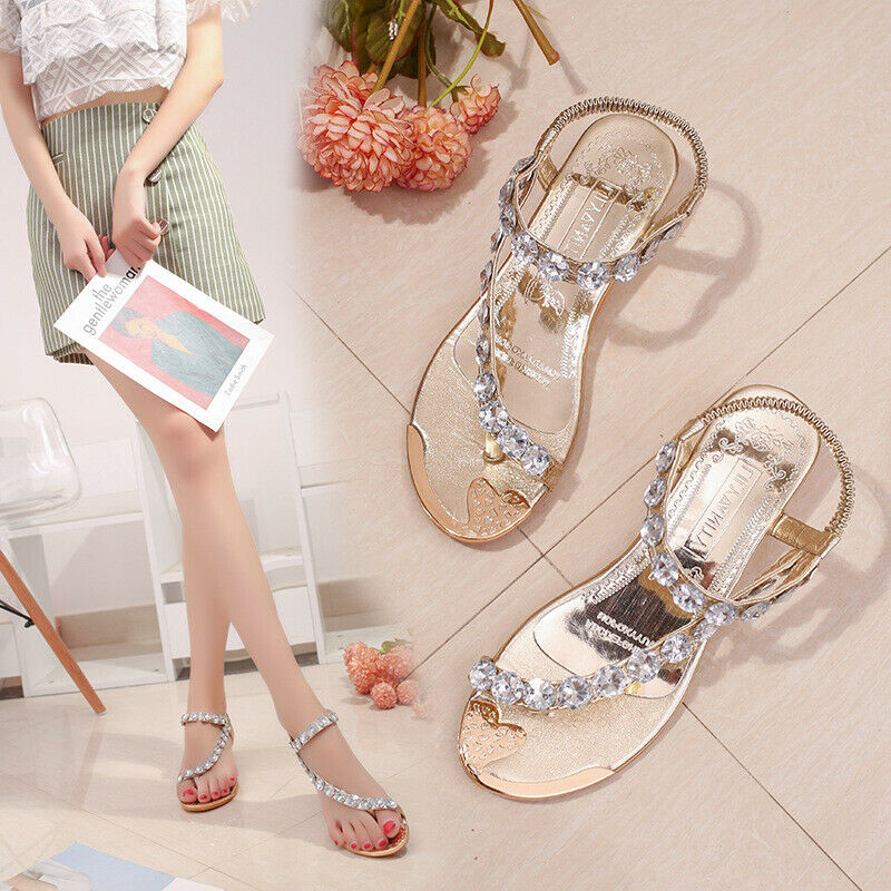 930d25a63a9c Details about 2019 Women s Summer Wedge Sandals Crystal Beach Flat Heel  Thong Shoes Rhinestone