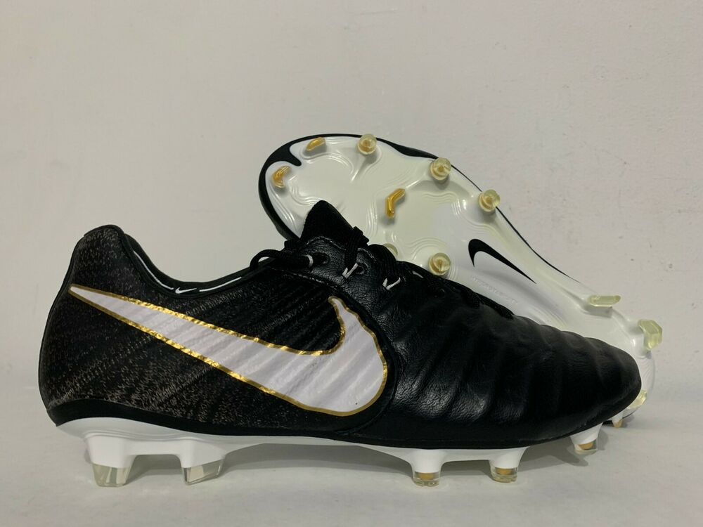 sports shoes e881f 01867 Details about Nike Tiempo Legend VII FG Leather Soccer Cleats Black White  Gold SZ  897752-002