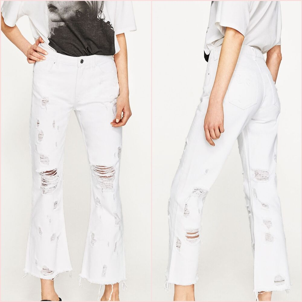 92d457f2 Details about Zara White Ribbed Frayed Mini Flare Jeans Size UK 6 8 10 12  US 2 4 6 8 Blogger ❤