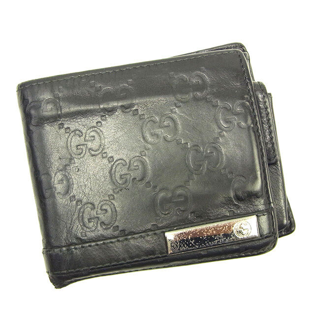 aea8f1aa3e3 Details about Gucci Wallet Purse Bifold Guccissima Black Silver Mens  Authentic Used Y6904