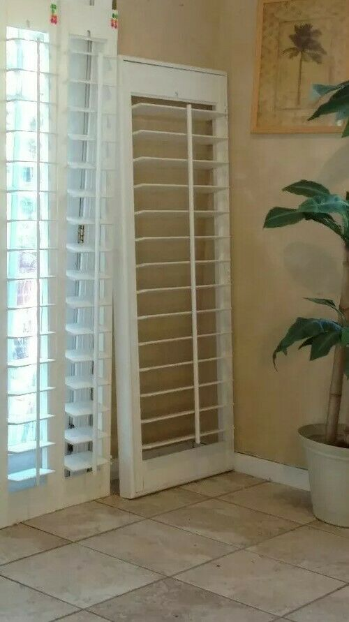 Interior solid wood plantation shutters white 4 5 louvers - Unfinished wood shutters interior ...