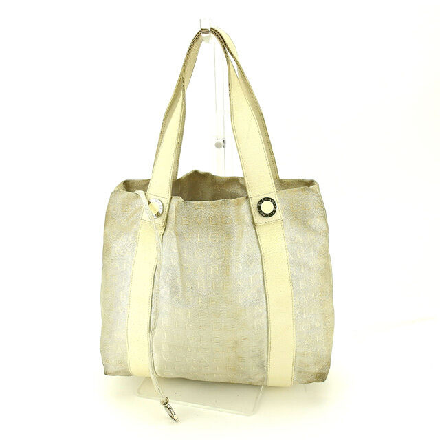 46cb30672582 Details about Bvlgari Tote bag Logo Mania Beige Silver Woman Authentic Used  G982