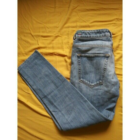 97f56719 Details about 28 DIESEL X ADIDAS LOW RISE JEANS LIGHT BLUE STRAIGHT SKINNY  BUTTON UP DENIM