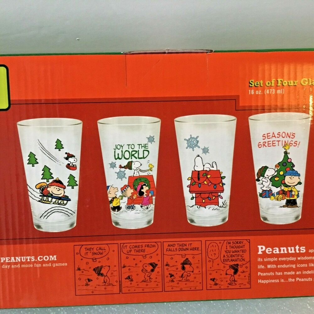 Details About Peanuts Snoopy Charlie Brown Christmas Drinking Gles 16 Oz Gl Set Of 4 New