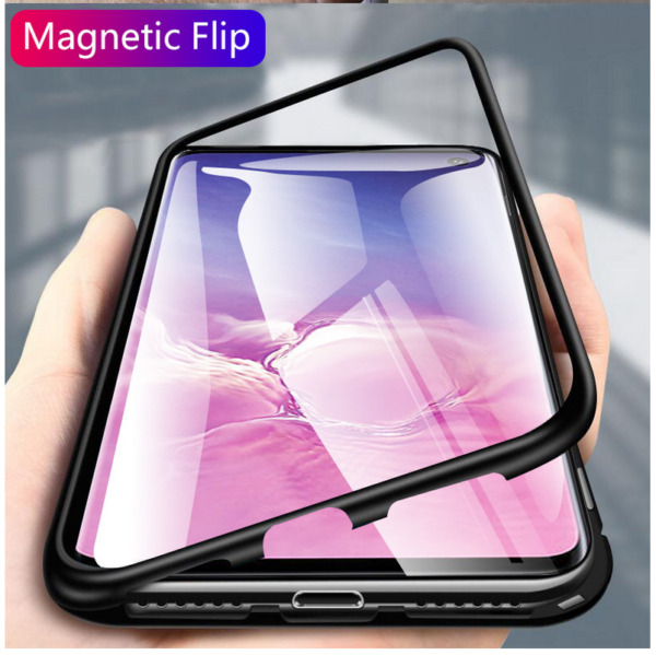 For Samsung Galaxy S10 Plus iPhone Magnetic Adsorption Metal Case Tempered Glass