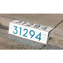 Modern Curb House Number Stencil; 4'', Mid Century, Palm Springs, Neutra, Atomic