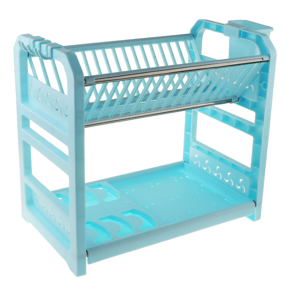 Details About Plastic Dish Drying Rack Drainer Draining Pan Pot Cup Bowl Organizer Blue