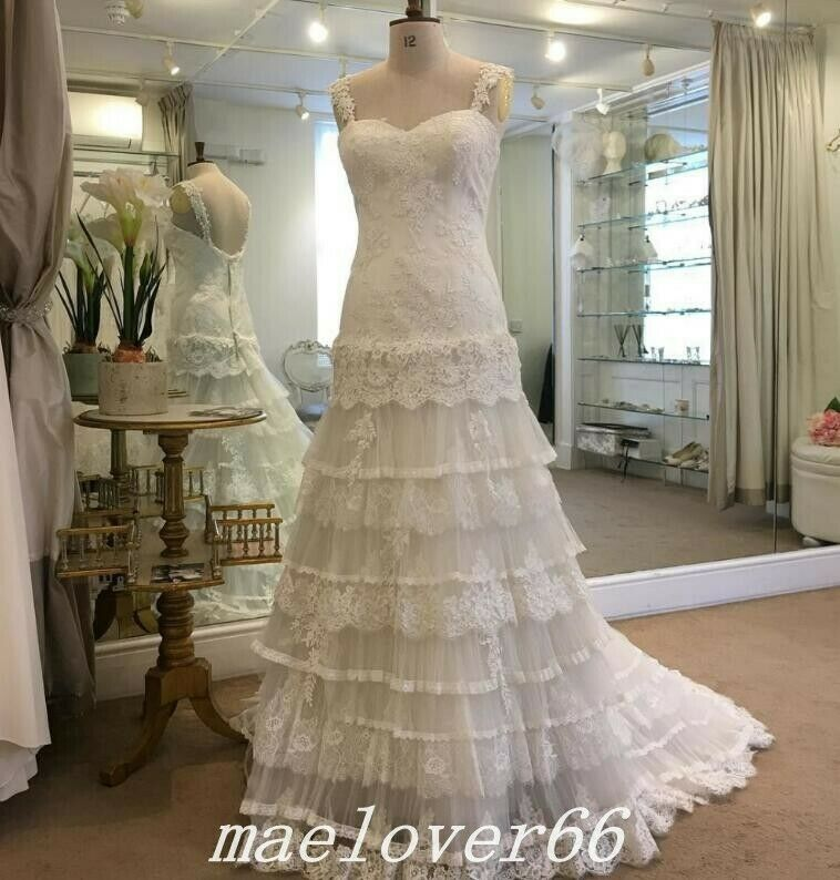 Vintage Bohemian Wedding Dress Lace Tiered Tulle Boho Bridal Gowns ...