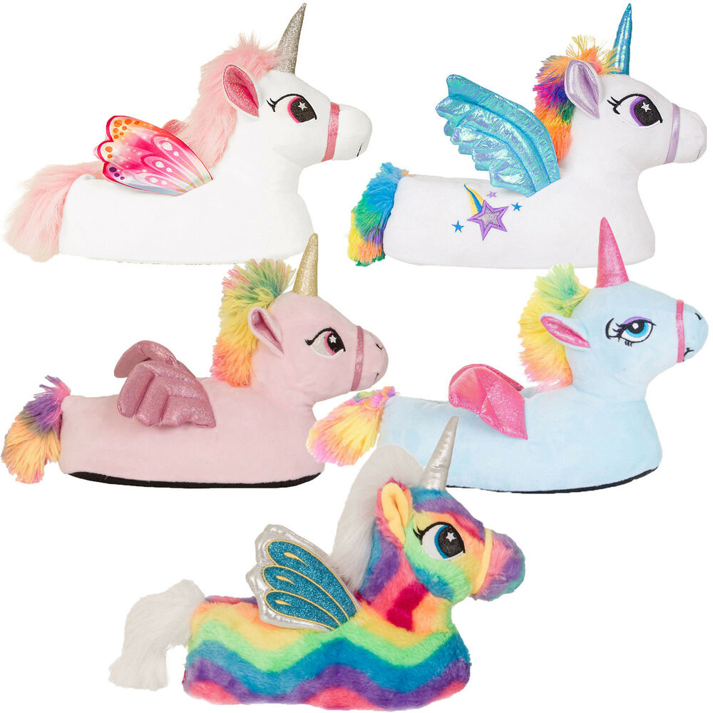 a9dcd9a7b6f6 Details about Womens Girls Novelty 3D Flying Unicorn Slippers Ladies Soft  Warm Indoor Footwear