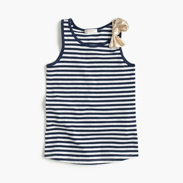 8845cf2a230 Details about J Crew Girls Shimmer Striped Bow Tank Top Sz 12 Navy Ivory  CREWCUTS Sealed NWT