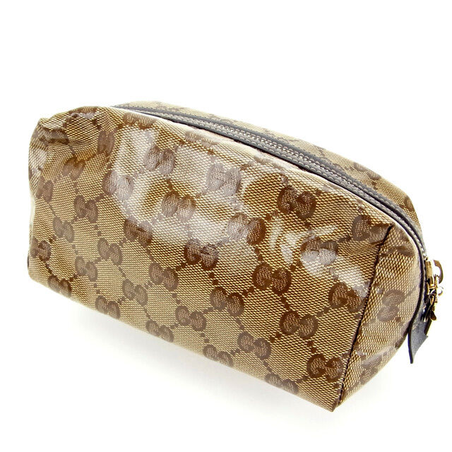 cbe7f84bdfec3e Details about Gucci Pouch Bag G logos Brown Woman Authentic Used Y484