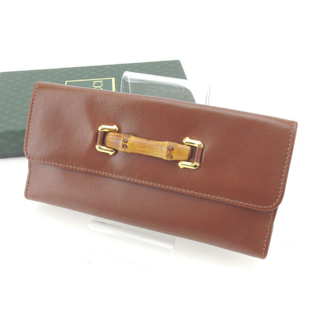 9dfe57263528 Details about Gucci Wallet Purse Long Wallet Bamboo Brown Gold Woman  Authentic Used Y4125