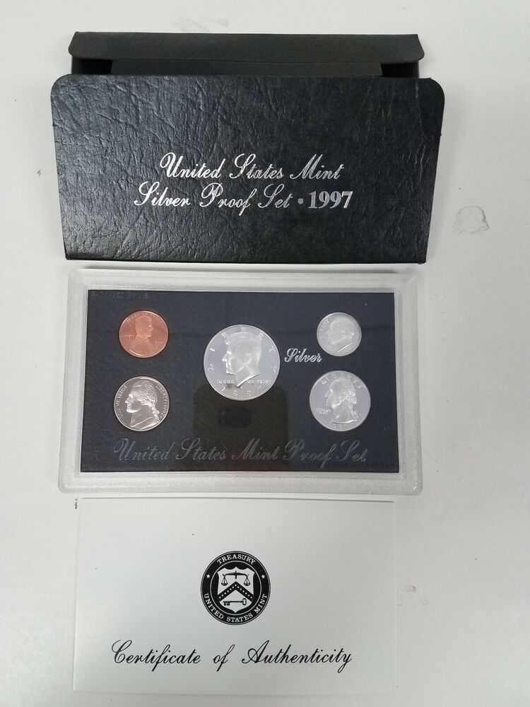 PS0597BMC US MINT PROOF 5 COIN SET 1997 CAMEO COMPLETE OGP FRESH FREE SHIPPING!!