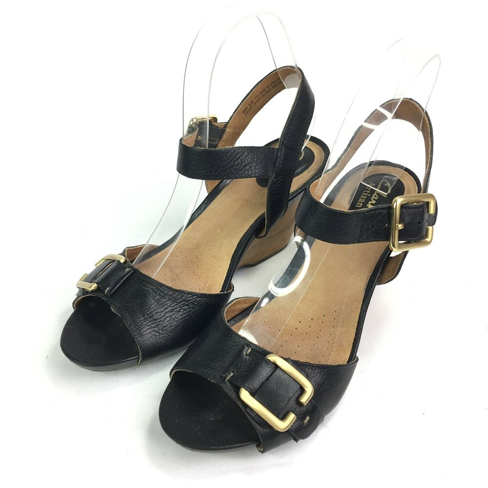 f67b8449e364 Details about Clarks Artisan Black Leather Wood Wedge Heels Sandals Ankle  Strap 60833 Sz 6.5 M