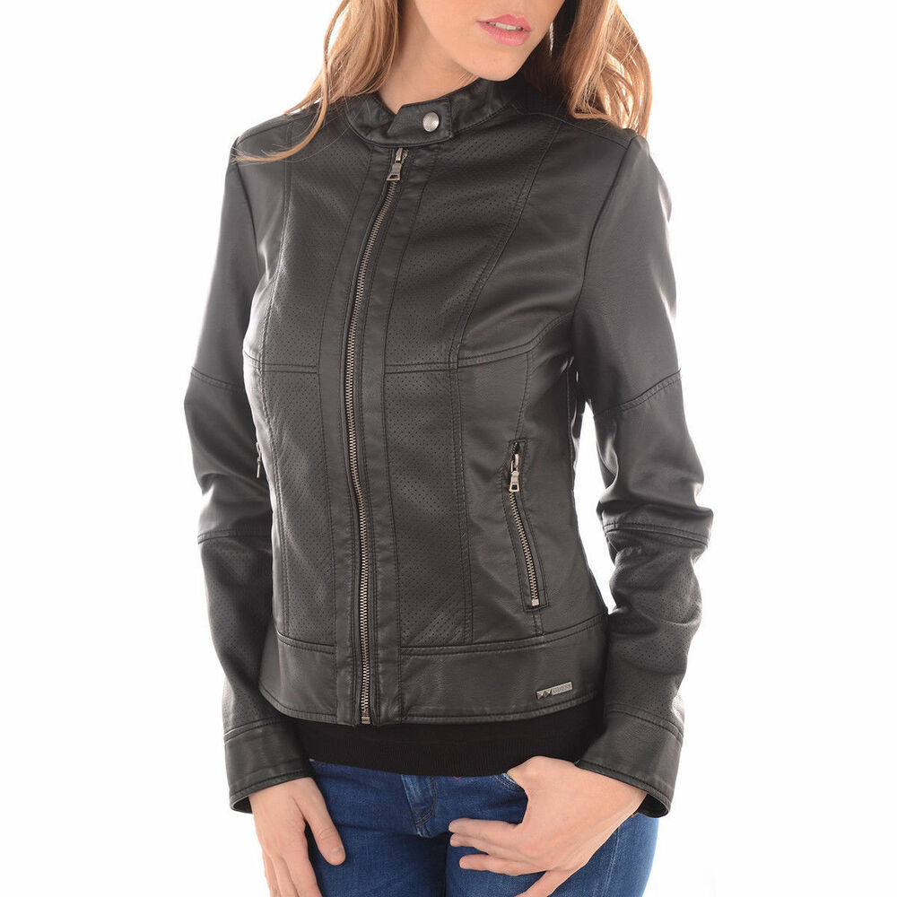 316a47c6ab GUESS Clarence Blouson Veste similicuir Femme Noir Jacket Black faux leather  M | eBay