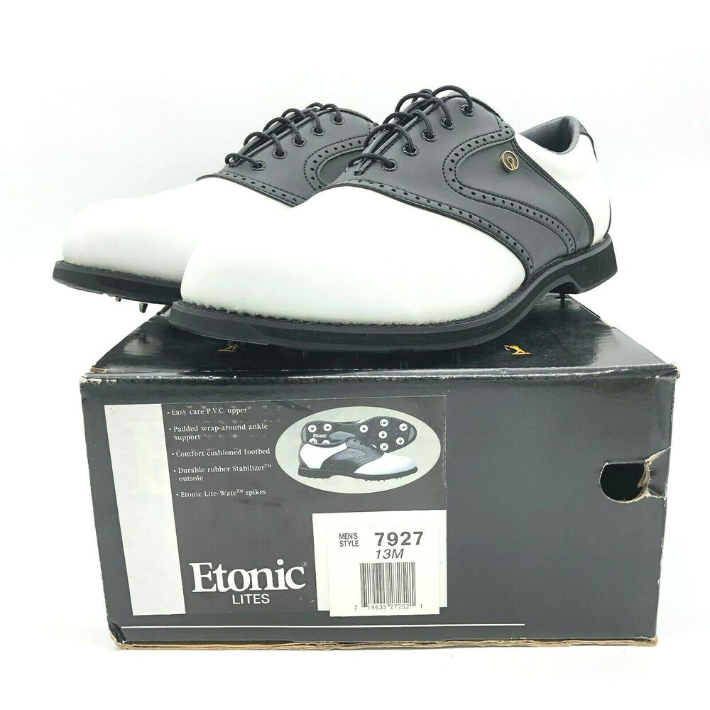bae3ae41f2cf39 Details about Etonic Lites Men's Golf Shoes Size 13M Style 7927 Black &  White NEW WITH BOX!