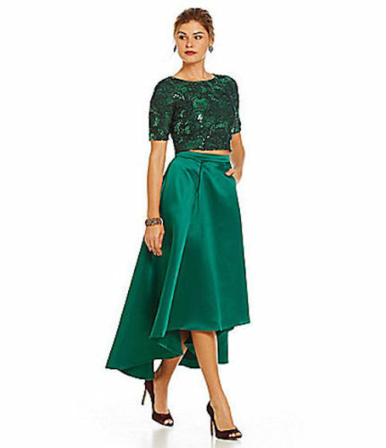 aea9ac76f4969 Details about Belle Badgley Mischka Ida Sequin-Lace Hi-Lo Satin Forest Green  Crop Top Skirt 10