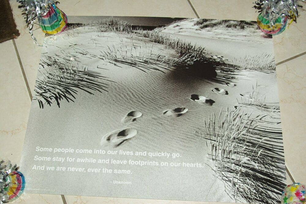 Decorative Footprints Beach Quote Inspirational Photography Poster Print 16x20