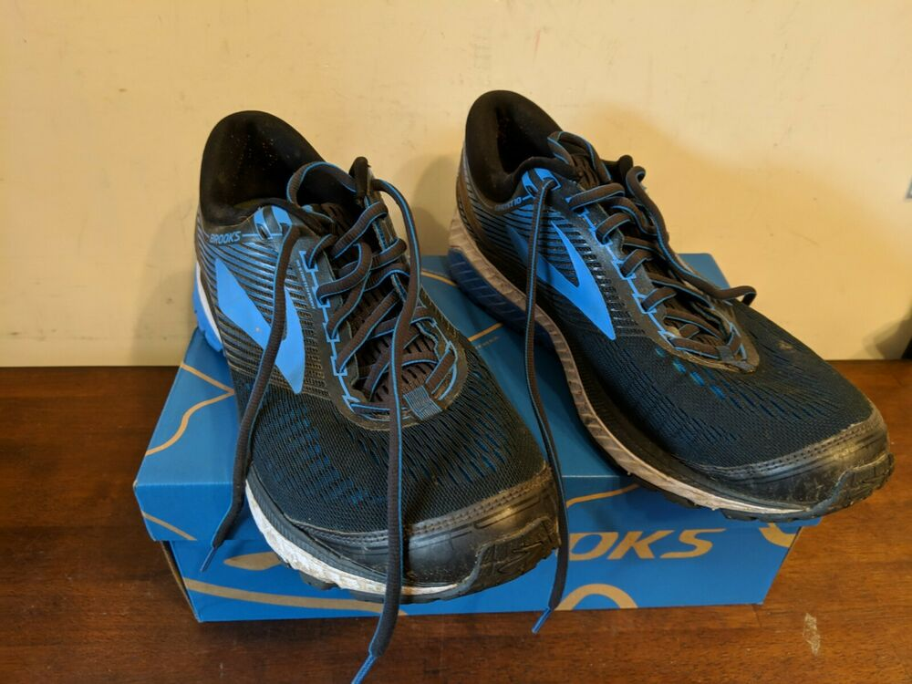 fac876ae424 Details about Brooks Men s Ghost 10 Ebony Metallic Charcoal Electric Brooks  Blue 11 D US