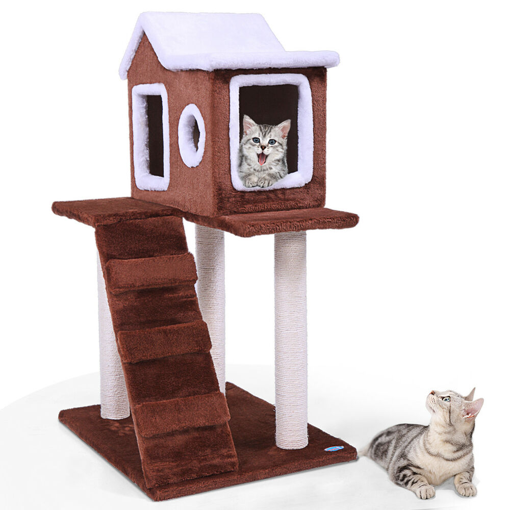 Details About New N36 Pet Cat Tree Play House Fluffy Condo W Scratching Posts Climbing Ladde