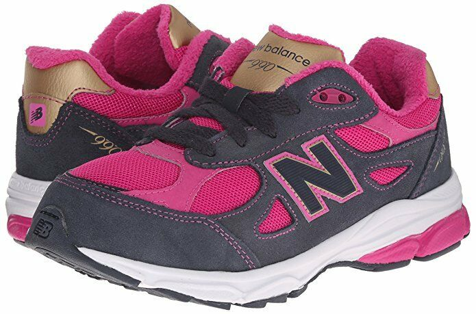 ecb8adde7bc6e Details about New Balance KJ990 Lace Big Kid Girl Running Shoe Pink Grey  Sneakers Size 6.5 M