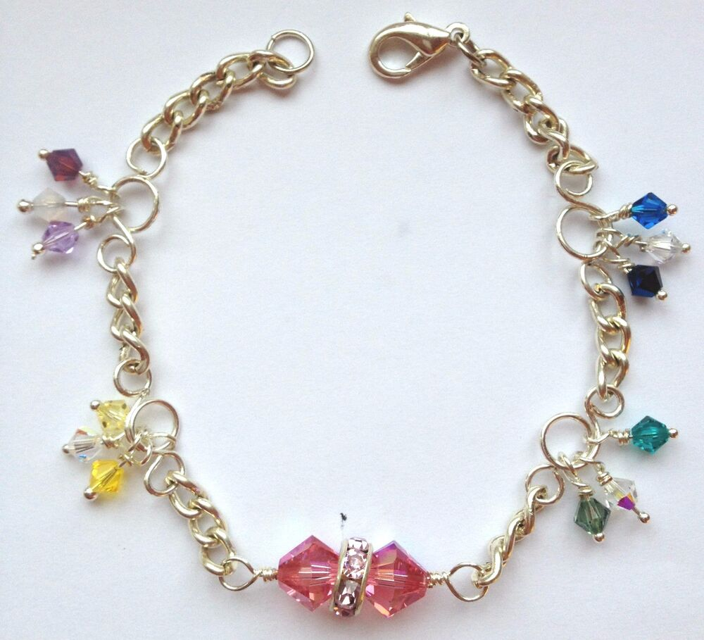 54b3ad195dd720 Details about Handmade Multi-colour Swarovski Crystal Bracelet Rainbow  Colours
