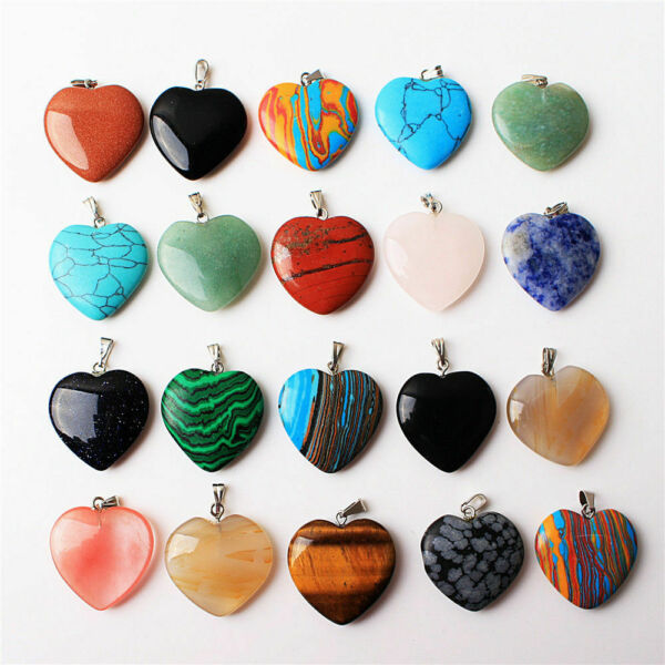 Wholesale Price! 100Pcs Mixed Stone Crystal Heart Shaped Jewelry Pendant Acc