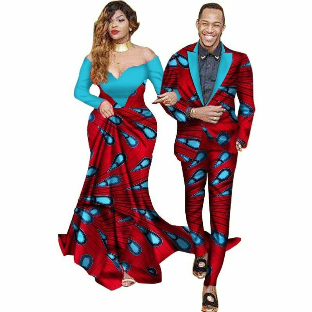 d1fa341131 Details about African Matching Couple Cloth Women Maxi Dress Men Jacket  Suit Lovers V11684