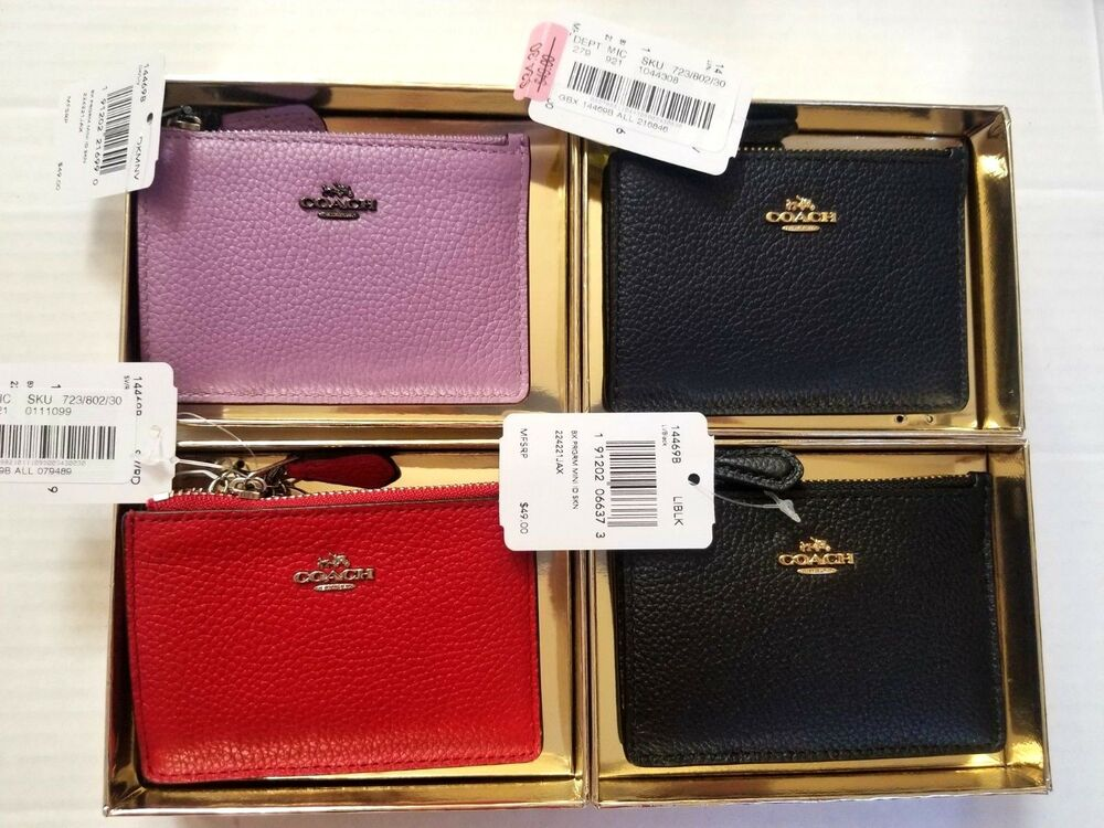 497deebe7a9 Details about NWT Coach Mini Skinny ID Card Case Pebble Leather Wallet  14469B in lily color