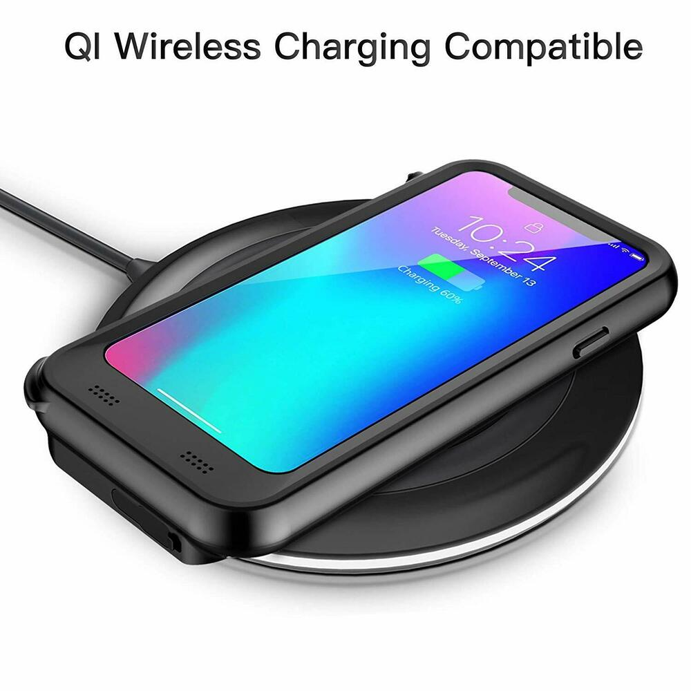 qi wireless waterproof battery case charging power cover apple iphone xr xs 8 7 ebay. Black Bedroom Furniture Sets. Home Design Ideas