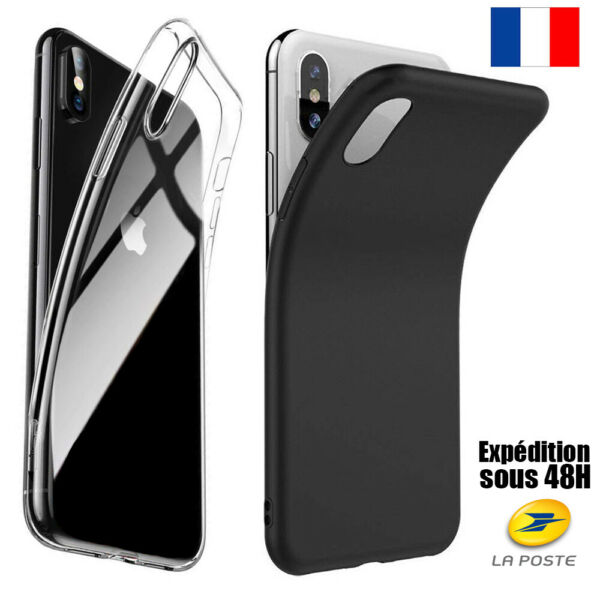COQUE HOUSSE SILICONE IPHONE 6 5 7 8 XR MAX XS 11 PRO PROTECTION ANTICHOC SOUPLE